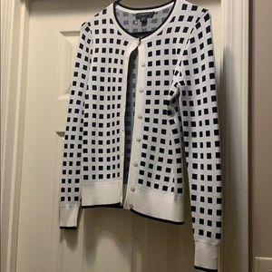 Ann Taylor XXSP White & Black Square Pattern